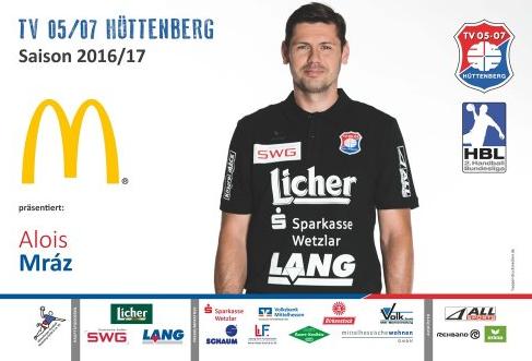 Werbefoto von Handballspieler Alois Mraz von TV Hüttenberg