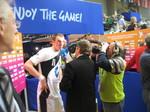 Holger Glandorf bei einem Interview kurz nach einem Spiel.